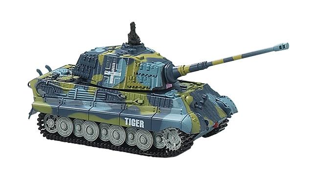 Мини и микро Great Wall Toys Танк микро р/у 1:72 King Tiger со звуком (синий, 40MHz)