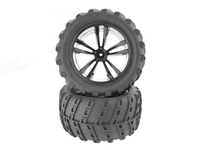 1:10 Black Truck Tires and Rims (31613B+31803) 2P